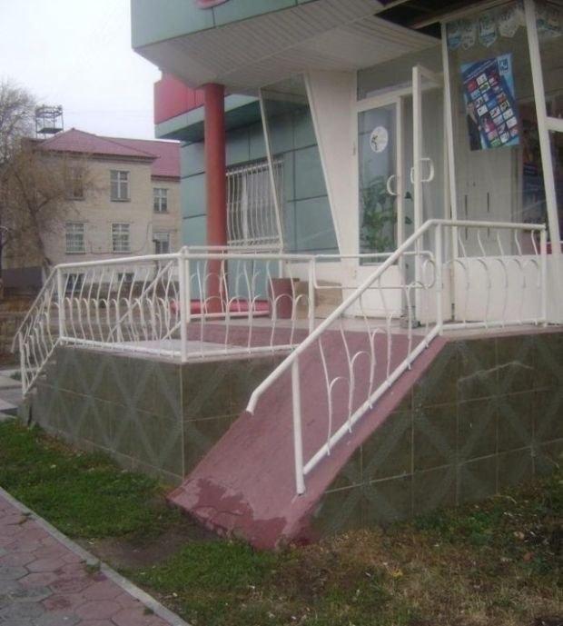 И ведь кто-то же строил всё это? Россия, забота, инвалиды, пандус, формальность, фото, юмор