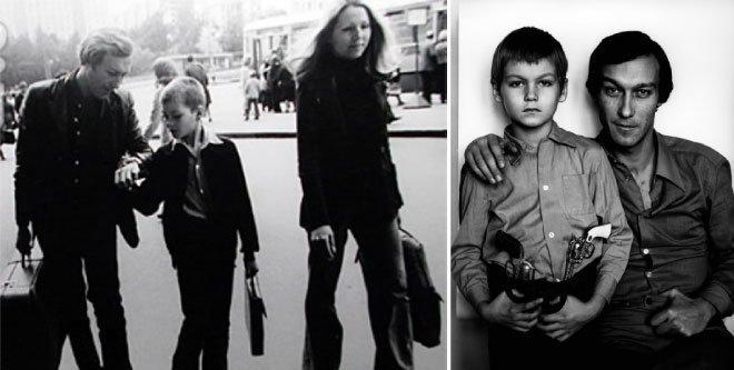 Олег Янковский и его сын Филипп, на прогулке и в образе