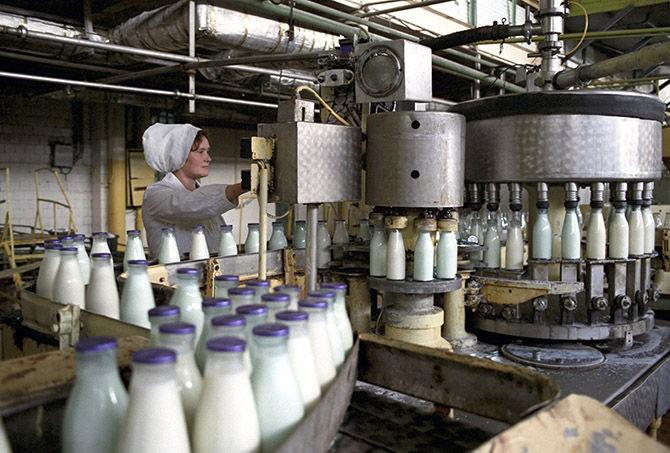 Молочные продукты в стеклянных бутылках