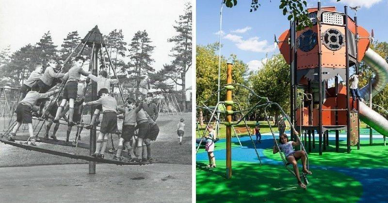 А вот дети были довольны всегда. Но на современных детских площадках стало больше индивидуализма