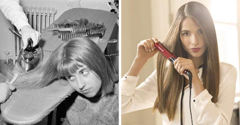Выпрямить волосы было не просто. Но девушки и сейчас не довольны. Прямые волосы они завивают, а кучерявые - распремляют