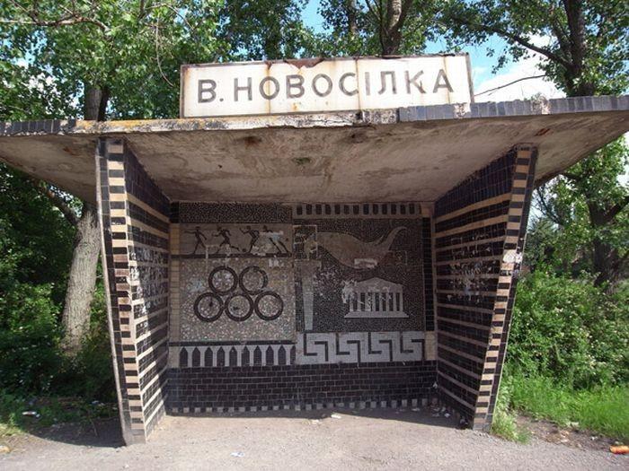 А это различные остановочные павильоны, оставшиеся со времен СССР