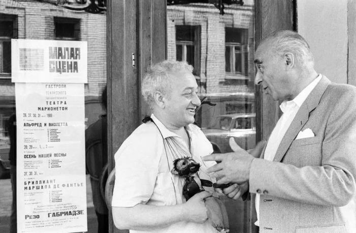 Резо Габриадзе случайно встретился с Владимиром Этушем, 1986 год