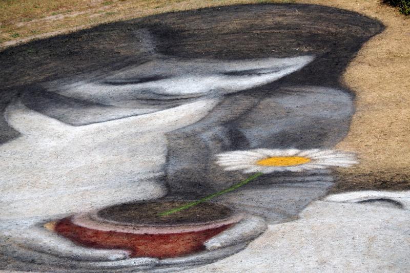 В Воронеже художник нарисовал гигантскую девочку с ромашкой, чтобы напомнить миру об экологии