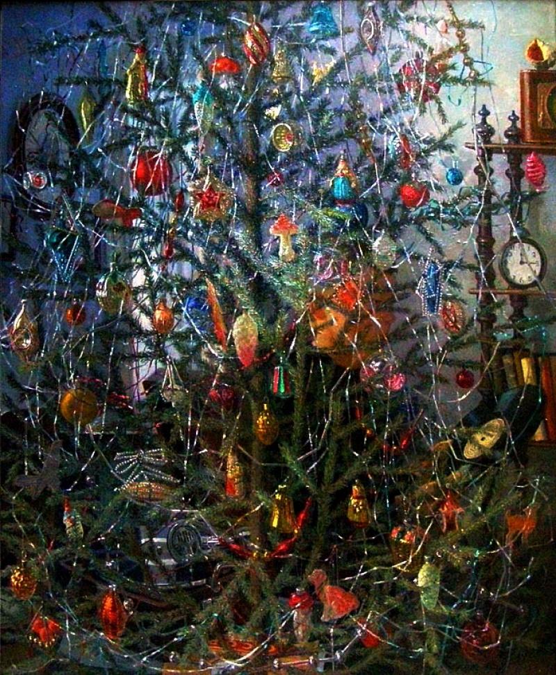 Александр Дудин. Елка. 1953 год елочные игрушки, новый год, ностальгия, ссср, стеклянные шары