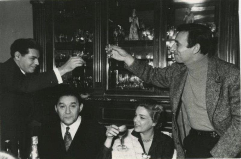 Аркадий Райкин, Леонид Утесов, Симона Синьоре, Ив Монтан. 1956 год