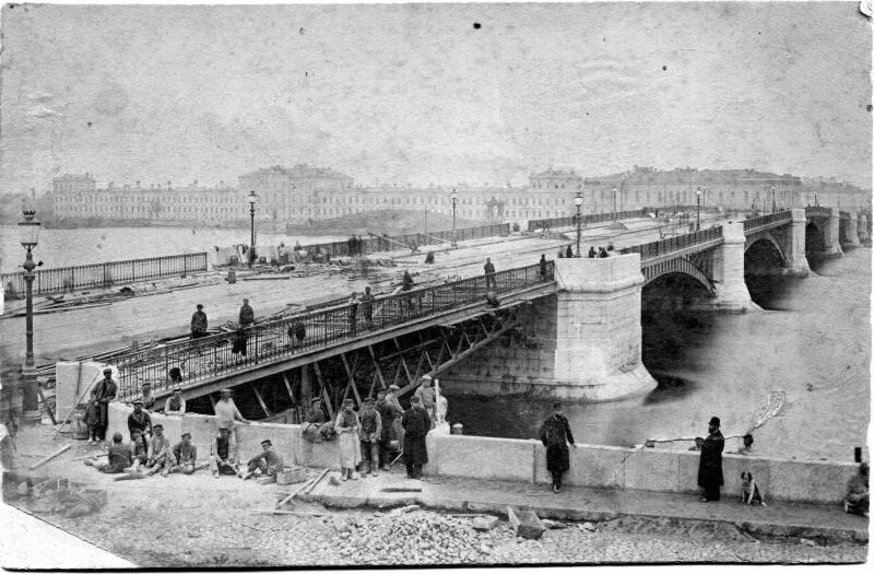 Строящийся мост в Санкт-Петербурге, 1878 — 1879 годы