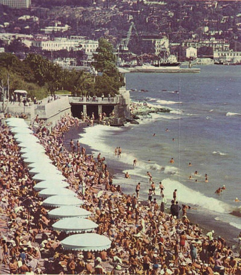 Городской пляж, Ялта курорты СССР, море, отдых, ссср, ялта