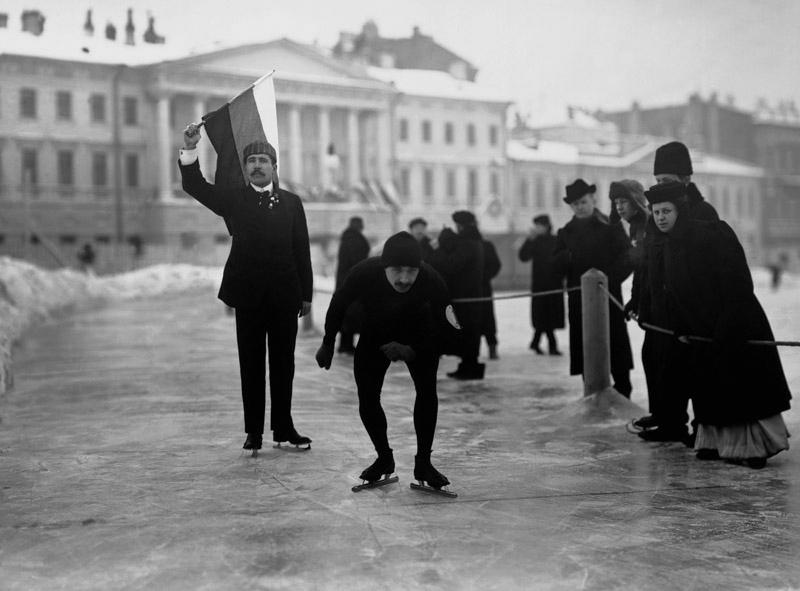 Состязания конькобежцев, 1914 год Карл Булла, дореволюционная Россия, история, фотография