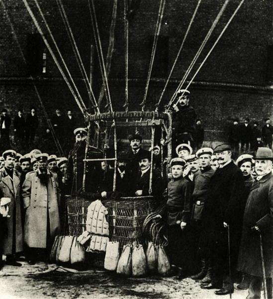 У корзины воздушного шара, 1904-1905 гг. Карл Булла, дореволюционная Россия, история, фотография