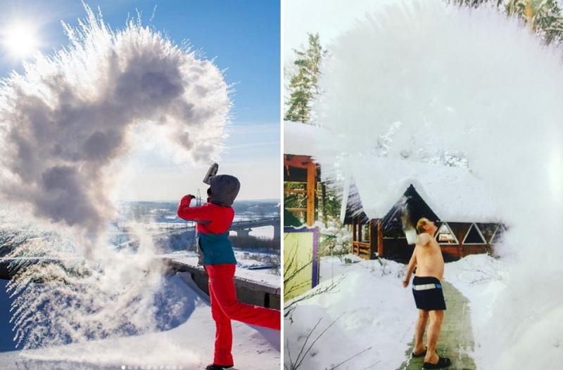 Дубакчеллендж: Сеть захлестнул необычной флешмоб с кипятком instagram, Сибирь, дубакчеллендж, морозы, флешмоб