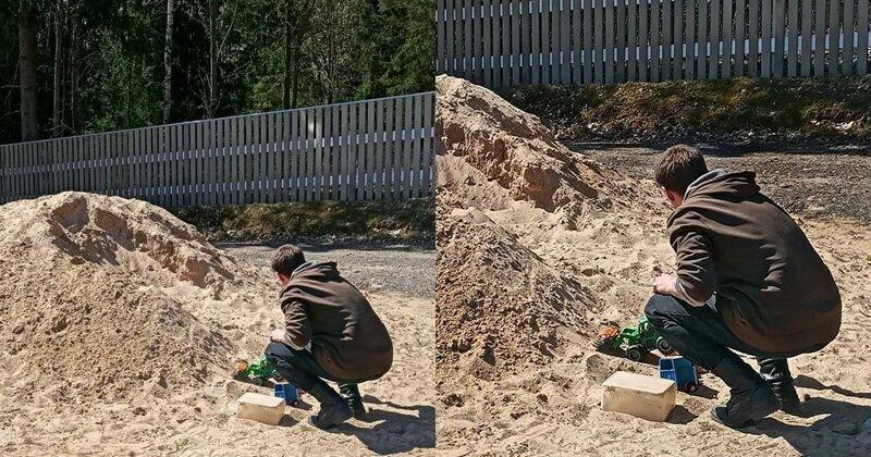 Песочная куча манит не только малышей впали в детство, мужчины как дети, первые сорок лет, смешно, юмор