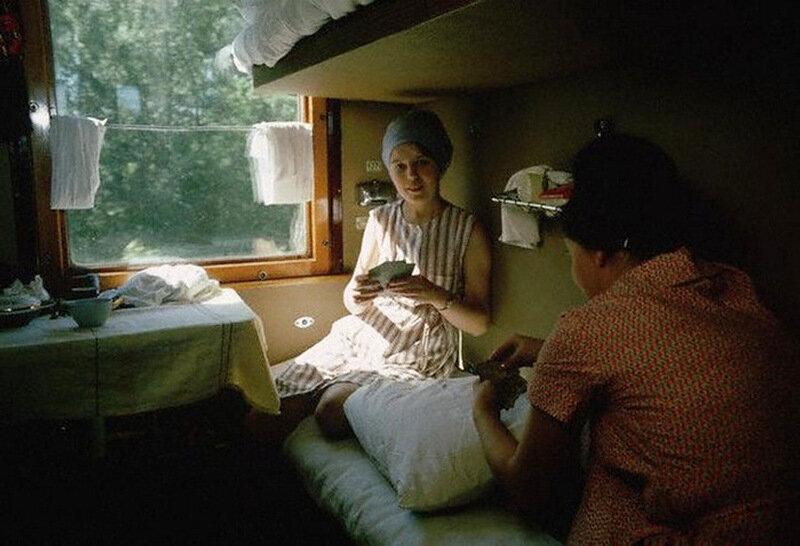 В купе поезда. Транссибирская магистраль, 1966 60-е, история, ссср, фото