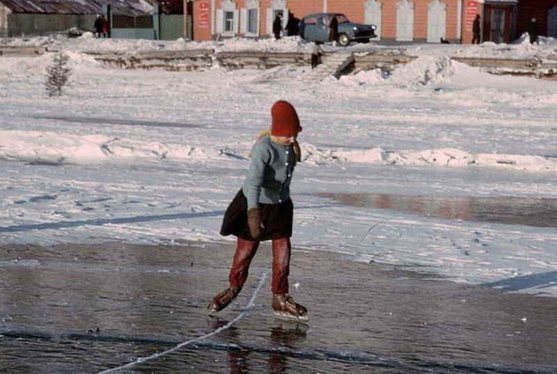 Катание на коньках. Байкал, 1967 60-е, история, ссср, фото