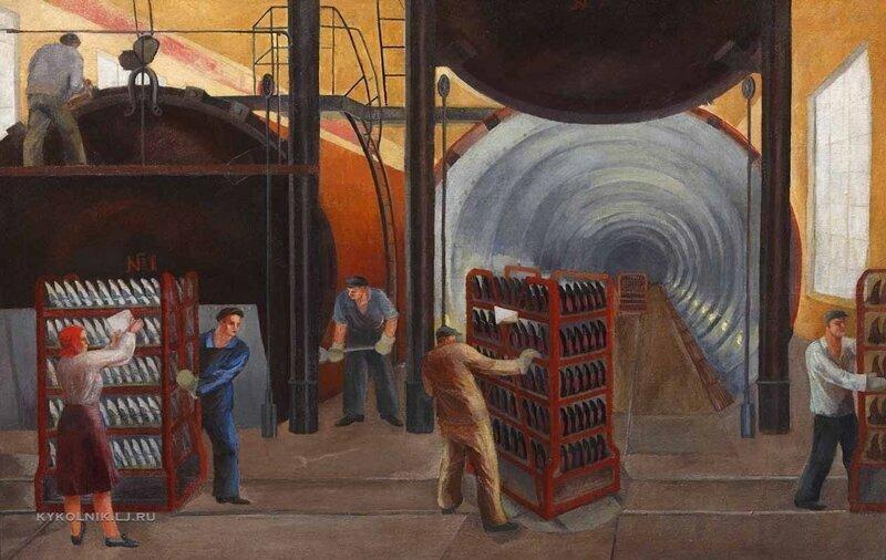 """""""В цеху (галошный цех завода """"Красный треугольник"""")"""", Прошкин Виктор Николаевич, 1929"""