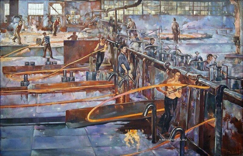 """""""Горячепрокатный цех Гвоздильного завода"""", Павлов Семен Андреевич, 1937"""