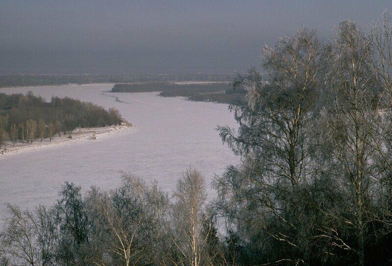 1975 год. Замерзшая река Обь