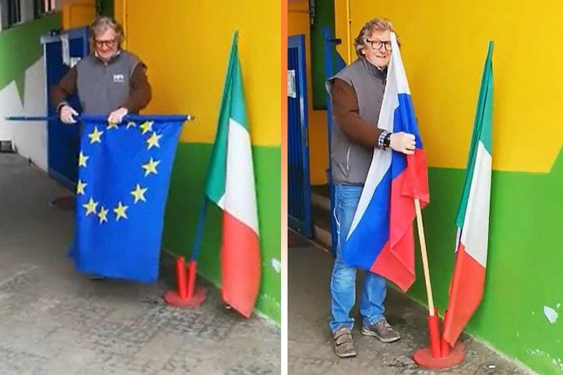"""""""Спасибо России"""": итальянцы меняют флаги ЕС на триколор"""