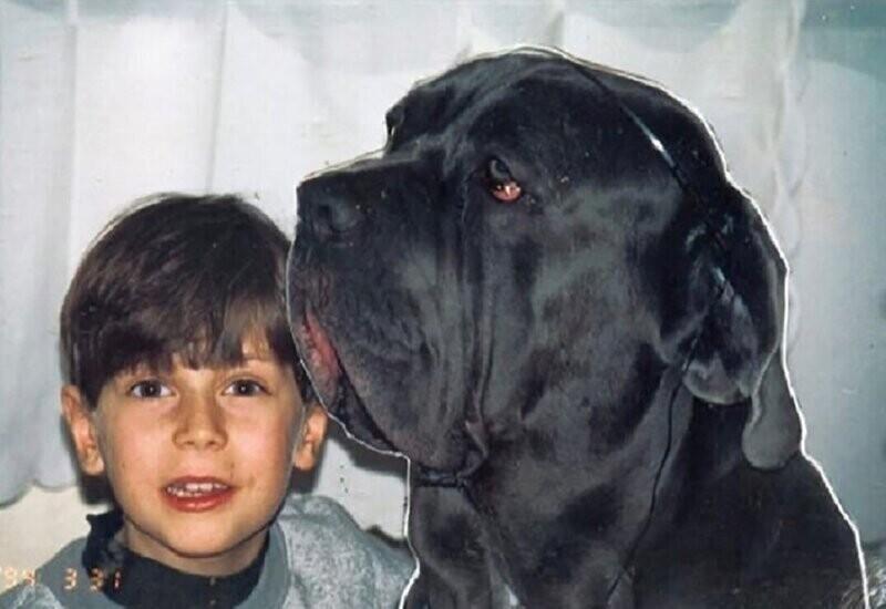 """Кирилл Толмацкий """"Децл"""" со своей собакой, 1994 год"""