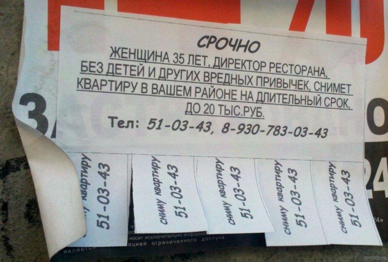 Небанальные объявления, придуманные в России