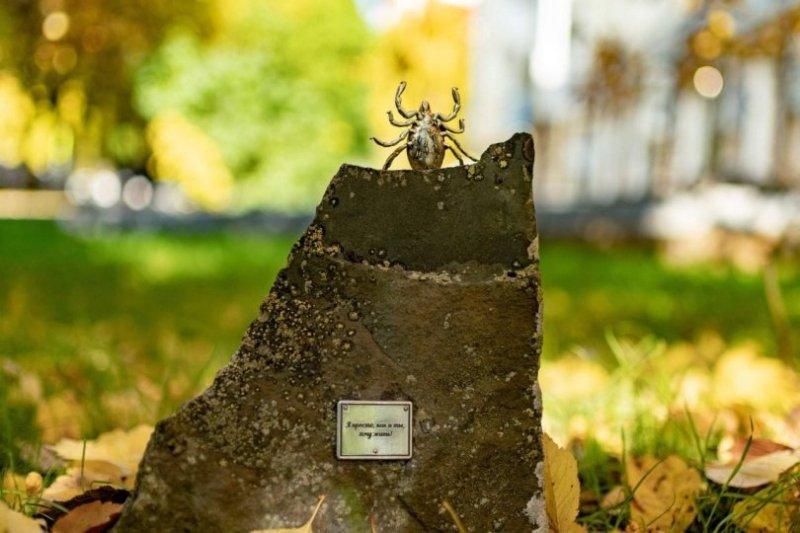 """""""Все равны и просто хотят жить"""": в Уфе появился серебряный памятник клещу"""