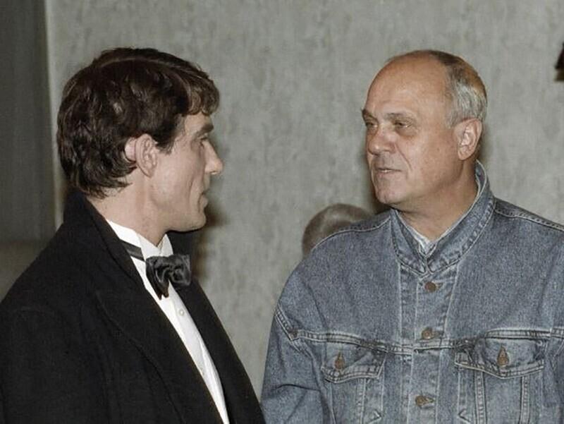 Владимир Меньшов и Валерий Гаркалин на съёмках фильма Ширли-Мырли, 1994 год