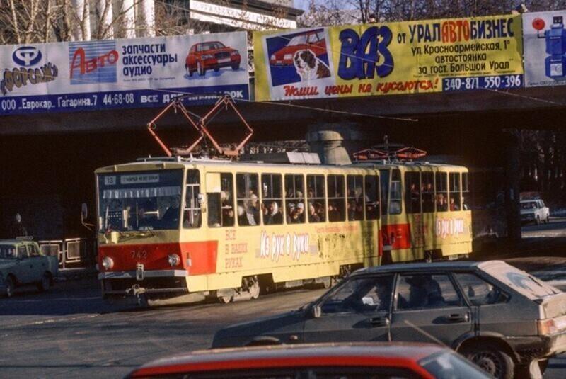 Трамваи Tatra T6B5 на улицах Екатеринбурга