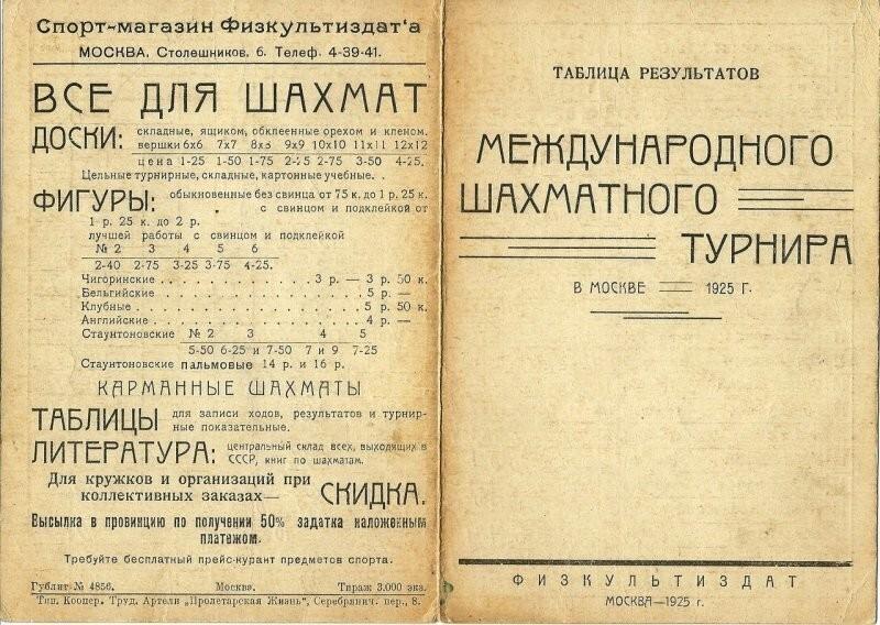 Шахматы, 1925 год